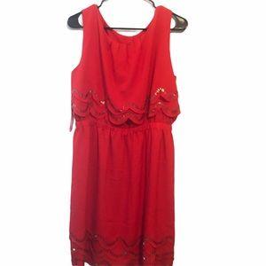 Gianni Bini Bobo Red Beaded Midi Dress Siz…